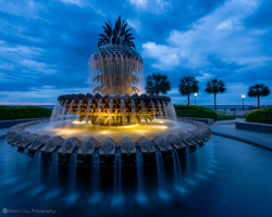 Charleston, South Carolina Pineapple Fountain at Dawn
