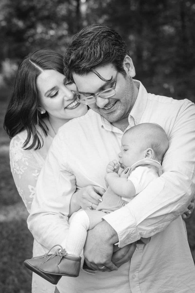 Black and White Outdoor Family Portrait